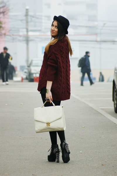 Zara sweater - Jeffrey Campbell boots - Topshop hat - thrifted bag - H&amp;M skirt