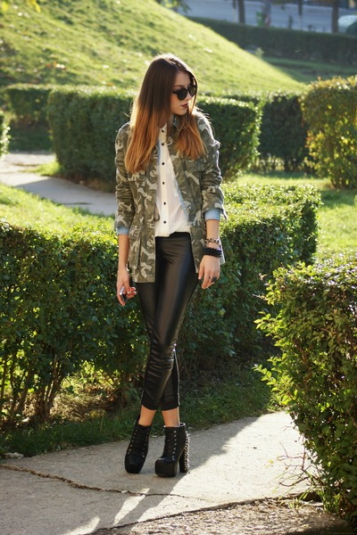 H&M shirt - Stradivarius shirt - Only jacket - Zara leggings - H&M sunglasses