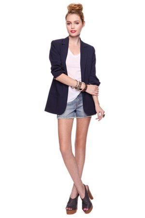 Forever 21 shoes - navy Forever 21 blazer - denim shorts Forever 21 shorts