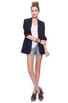 Forever 21 shoes - navy Forever 21 blazer - denim shorts Forever 21 shorts