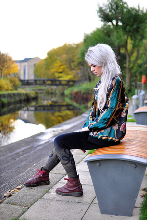 dark green The Left Bank jacket - maroon Dr Martens boots - black leggings