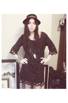 black Lingernot Vintage dress - black BDG hat - brown Fauve and Hunter necklace