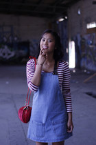 denim pinafore Glassons dress - straw apple Danderfield bag - rubi sandals