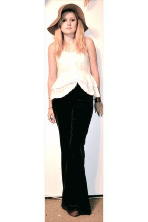 blue victoria secret pants - white LOVE NOTES shirt - brown YSL shoes - vintage