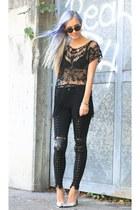 cross-over stylestalker leggings - fringed Choies shirt