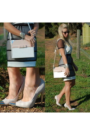 bag - dress - transparent sunglasses - pumps - silver  chain accessories