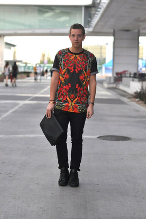 red Givenchy shirt - black pik pik Christian Louboutin sneakers