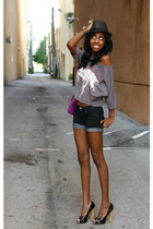 black Forever 21 hat - gray Forever 21 t-shirt - blue Forever 21 shorts - black
