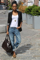 brown moccasins shoes - blue boyfriend jeans H&M jeans - black Guess blazer - da