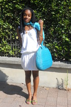 white Fornarina dress - sky blue sportmax bag