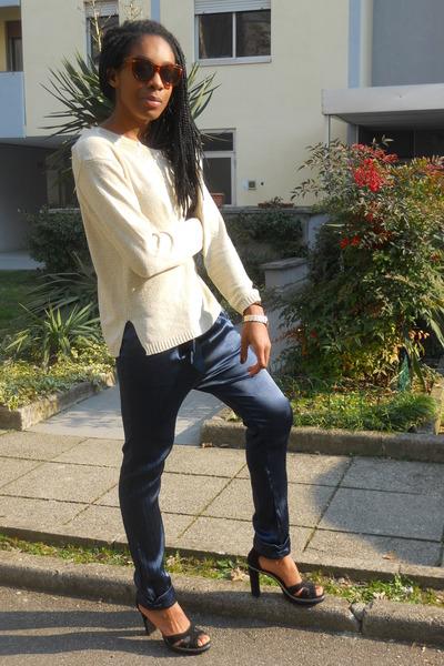 H&M sunglasses - navy Zara pants - black Pennyblack sandals