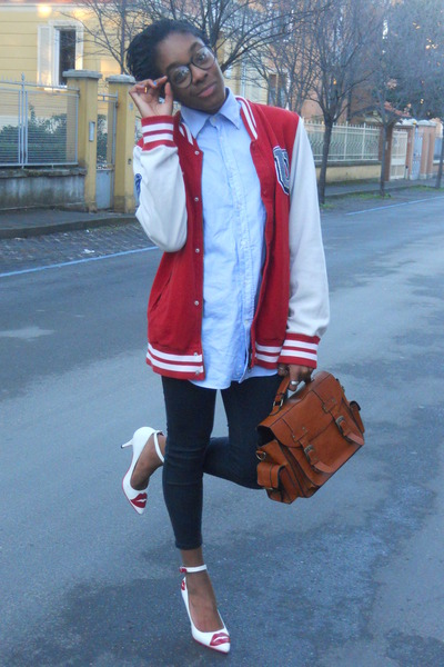 H&M jacket - sky blue Sea&Sky Sportwear shirt - burnt orange pieces bag