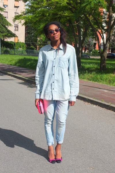 sky blue denim H&M shirt - sky blue Pinko jeans - hot pink Zara bag