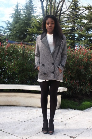 heather gray Pennyblack coat - white new look dress - H&amp;M tights
