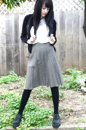 charcoal gray vintage skirt - black creepers vintage shoes
