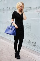 blue from Italy bag - black H&M dress - sky blue vintage Rocaille necklace