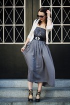 periwinkle maxi skirt Zara dress - black vintage bag