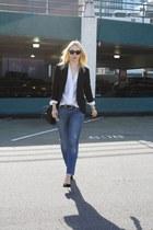 sky blue Zara jeans - black Zara blazer - white vintage blouse