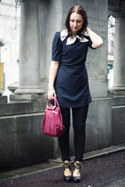 black two tone DKNY heels - dark gray two bows Awear dress - black Zara leggings