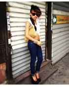 Forever 21 jeans - DKNY shirt - wooven clutch Bottega Veneta bag