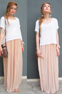 White-h-m-top-eggshell-maxi-skirt-pull-bear-skirt