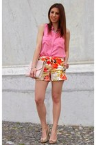 nude Primark pumps - carrot orange floral Zara shorts - salmon H&M blouse