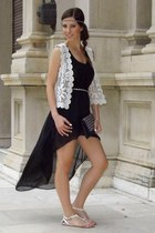 ivory crochet H&M vest - black asymmetrical romwe dress
