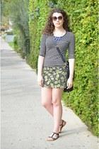 black stripes Forever21 shirt - lime green pineapple H&M skirt