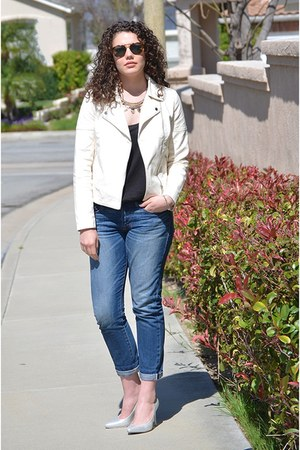 blue boyfriend jeans Gap jeans - ivory motorcycle Forever 21 jacket