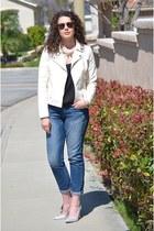 blue boyfriend jeans Gap jeans - ivory motorcycle Forever 21 jacket