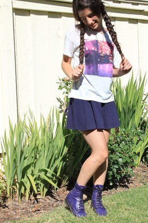deep purple vintage boots - navy navy American Apparel skirt - white Forever 21
