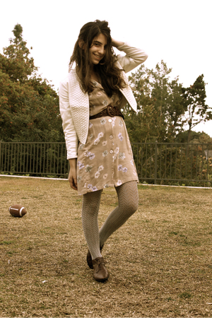 brown Jeffrey Campbell shoes - white Kimchi Blue jacket - beige vintage dress - 