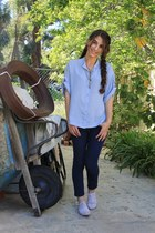 navy denim free people jeans - neutral floral oxford Claires flats - periwinkle