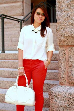 red Gap pants - white silk madewell shirt - black ann taylor pumps
