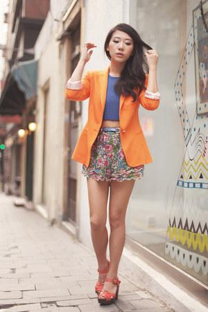 forest green Topshop shorts - orange Zara blazer - blue Topshop top