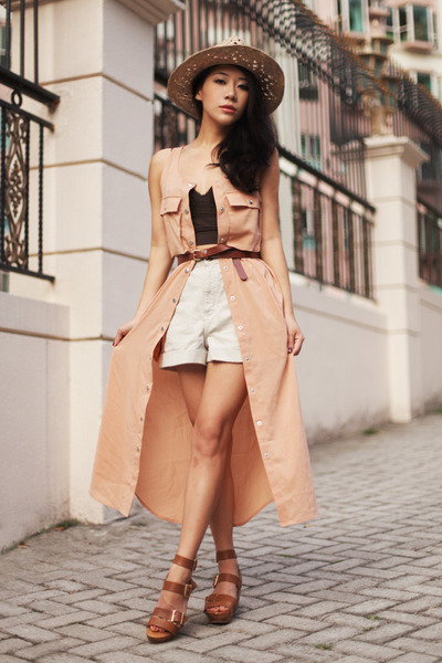 peach Monki dress - beige Topshop hat - off white American Apparel shorts