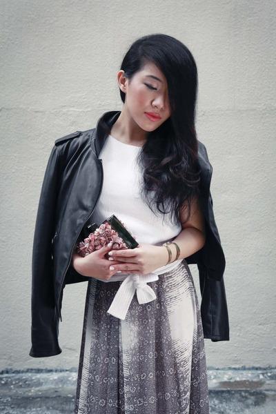 salmon Reiss shoes - black Reiss jacket - salmon Reiss bag - white Reiss top