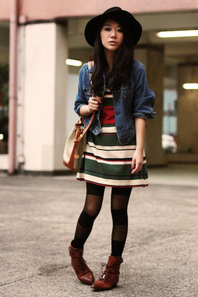 dark brown vintage boots - dark green vintage dress - black vintage hat - blue d