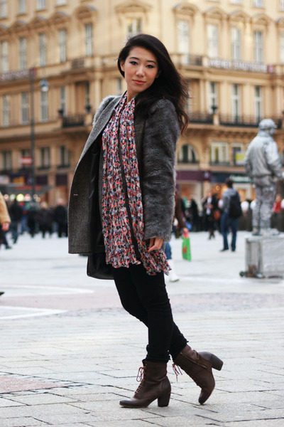 dark brown lace up asos boots - gray Topshop coat - salmon printed H&M scarf - b