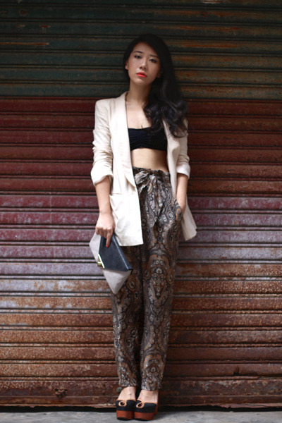 brown Zara pants - cream H&amp;M blazer