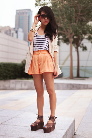 light orange H&M shorts - ivory H&M blazer - dark brown free people wedges