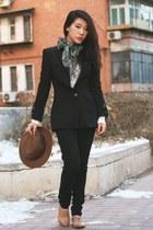 dark khaki fedora H&M hat - black Zara blazer - dark green vintage scarf - black