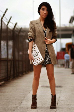 dark brown asos boots - dark khaki vintage midwest blazer - white H&amp;M bag