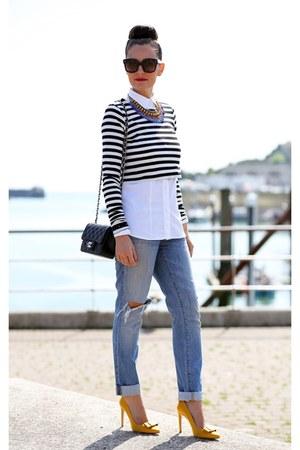 Zara top - J Brand jeans - JCrew shirt