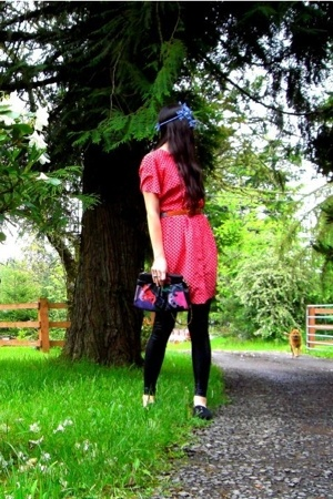 vintage dress - American Apparel pants - once grandmothers accessories
