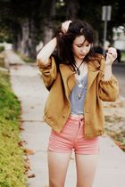pink American Apparel shorts - gold American Apparel jacket - blue American Appa