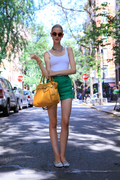 mustard Steeve Maden bag - American Apparel shorts - basic tank Primark top