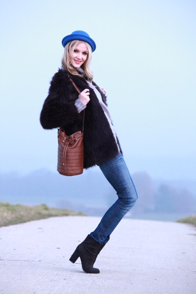 faux-fur H&M coat - black H&M boots - basic Zara jeans - blue Viva Frida hat