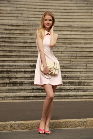 pastel pink Zara dress - white Bershka bag - collar Zara accessories