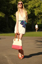 New Yorker dress - worn as a belt H&M scarf - white and coral New Yorker bag